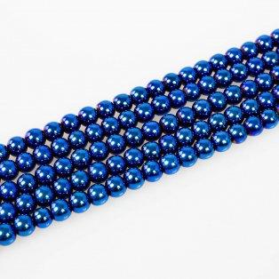 Syntetické hematitové korálky - ocelově modré - třída A - ∅ 8 mm - 10 ks