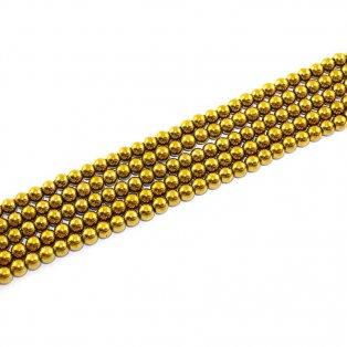 Syntetické hematitové korálky - zlaté - třída A - ∅ 6 mm - 10 ks