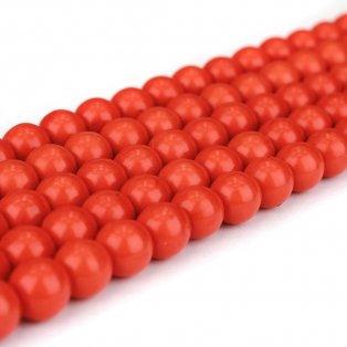 Syntetické tyrkysové korálky - oranžové - ∅ 8 mm - 10 ks