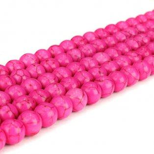 Syntetické tyrkysové korálky - růžové - ∅ 8 mm - 10 ks
