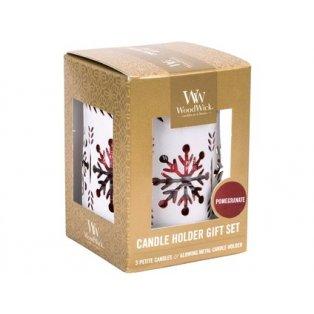 Woodwick svíčka - Dárkový set 3 ks petite + svícen/White Snowflake Pomegrananate