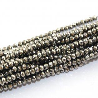 Broušené korálky - stříbrné - 4 x 3 mm - 10 ks