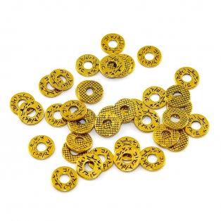 Tibetský mezidíl - 11 x 1 mm - zlatý - 1 ks