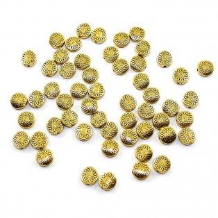Tibetský mezidíl - zlatý - 9 x 9 mm - 1 ks