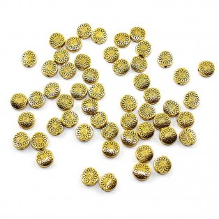 Tibetský oddělovací korálek - starozlatý - 8,5 x 8,5 x 3,5 mm - 1 ks