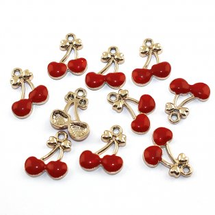 Třešně - červené - 20 x 16 x 3 mm - 1 ks