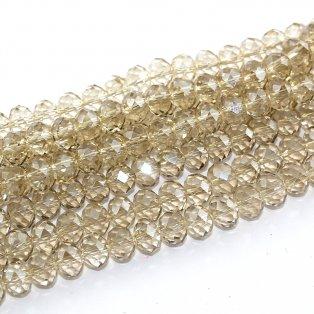 Broušené korálky - slavík - transparentní - slonová kost  - 8 x 6 mm - 10 ks