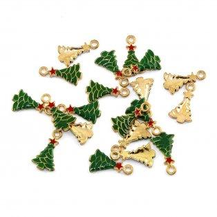 Přívěsek vánoční stromeček - zlatý - 20,5 x 11,5 x 2,5 mm - 1 ks