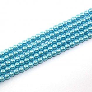 Voskované perly - azurové - Ø 6 mm - 10 ks