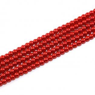 Voskované perly - červené - Ø 6 mm - 10 ks