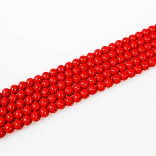 Voskované perly - červené - Ø 8 mm - 10 ks
