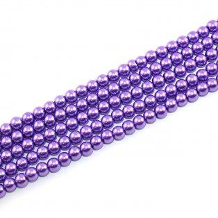 Voskované perly - fialové - Ø 6 mm - 10 ks