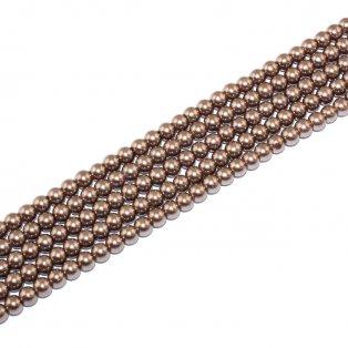 Voskované perly - hnědé - Ø 6 mm - 10 ks