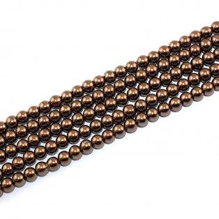 Voskované perly - kávové - Ø 6 mm - 10 ks