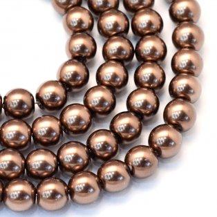 Voskované perly - kávové - Ø 8 mm - 10 ks