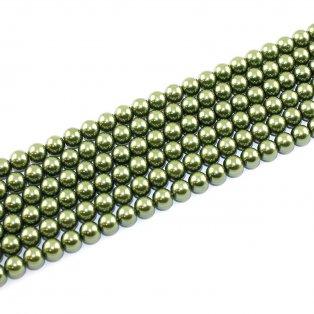 Voskované perly - lahvově zelené - Ø 8 mm - 10 ks