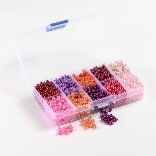 Voskované perly - mix barev - Ø 4 mm - krabička