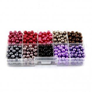 Voskované perly - mix barev - Ø 6 mm - krabička