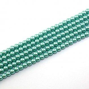 Voskované perly - páví zeleň - Ø 6 mm - 10 ks