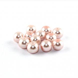 Voskované perly - lasturově růžové - ∅ 8 mm - 10 ks