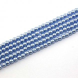 Voskované perly - pomněnkové - Ø 6 mm - 10 ks