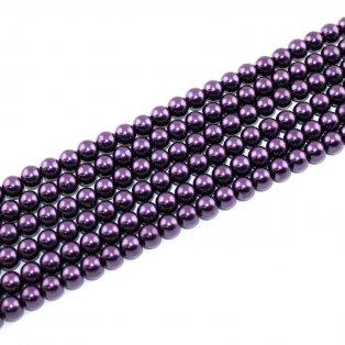 Voskované perly - purpurově fialové - Ø 8 mm - 10 ks