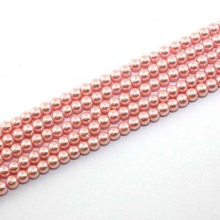 Voskované perly - růžové - Ø 6 mm - 10 ks