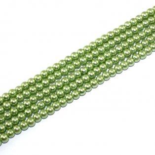Voskované perly - světle zelené - Ø 6 mm - 10 ks