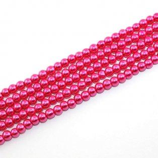 Voskované perly - tmavě růžová - Ø 6 mm - 10 ks