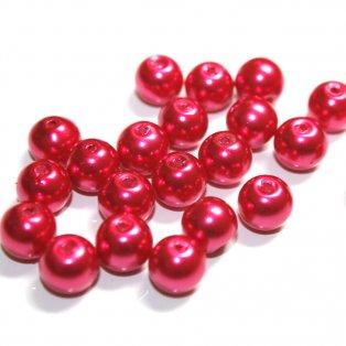 Voskované perly - tmavě růžové - Ø 8 mm - 10 ks