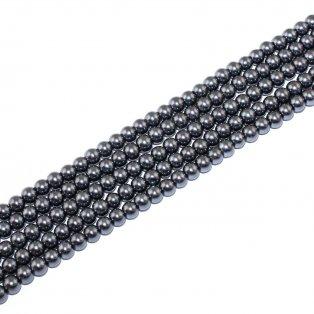 Voskované perly - tmavě šedá - Ø 6 mm - 10 ks