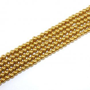 Voskované perly - zlatá - Ø 6 mm - 10 ks