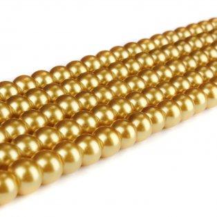 Voskované perly - zlaté - Ø 8 mm - 10 ks