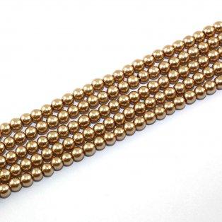 Voskované perly - zlatohnědá - Ø 6 mm - 10 ks