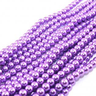 Voskované perly - svěle fialové - Ø 8 mm - 10 ks