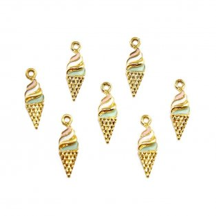 Přívěsek zmrzlina - zlatá - 25,5 x 8 x 3 mm - 1 ks
