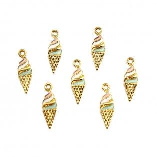 Kovový přívěsek - zlatý - zmrzlina - 25,5 x 8 x 3 mm - 1 ks