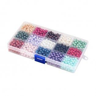 Voskované perly - mix barev - Ø 10 mm - krabička