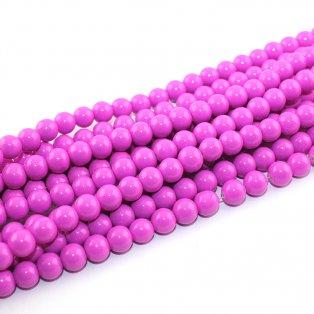 Skleněné korálky - tmavě růžové - Ø 8 mm - 10 ks