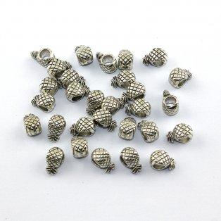 Korálek s širokým průvlekem - ananas - stříbrný - 12 x 7 x 6 mm - 1 ks