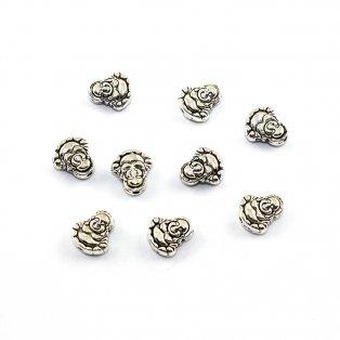 Buddha - stříbrný - 11 x 10 x 5 mm - 1 ks