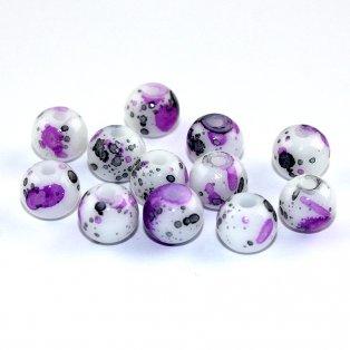Sprejované korálky - fialové - ∅ 8 mm - 10 ks
