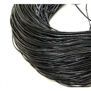 Šňůra z hovězí kůže - černá - ∅ 1 mm - 1 m