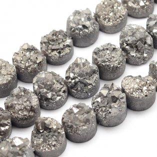 Pokovená drúza z přírodního křišťálu - 7~12 x 5~10 mm - šedá - 1 ks