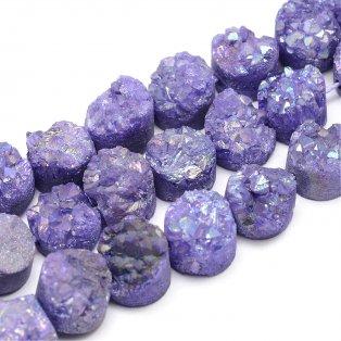 Pokovená drúza z přírodního křišťálu - fialová - 7~12 x 7~12 - 5~10 mm - 1 ks
