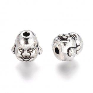Buddha - stříbrný - 10 x 10 x 9 mm - 1 ks