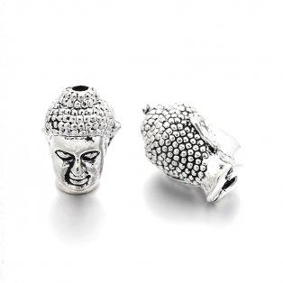 Kovový korálek - starostříbrný - Buddha - 13 x 9 x 10 mm - 1 ks