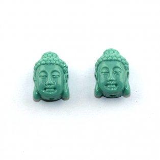 Buddha ze syntetického korálu - tyrkysový - 15 x 10 x 7 mm - 1 ks