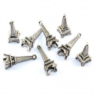 Eiffelova věž - stříbrná - 24 x 8 x 6 mm - 1 ks