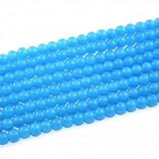Imitace nefritových korálků - modré - ∅ 8 mm - 10 ks